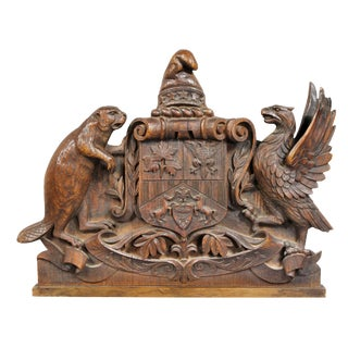 German Carved Oak Coat of Arms For Sale