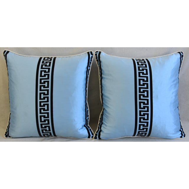 Pair of custom-tailored reversible designer accent pillows from vintage/never used silk and Polyester blended dupioni...
