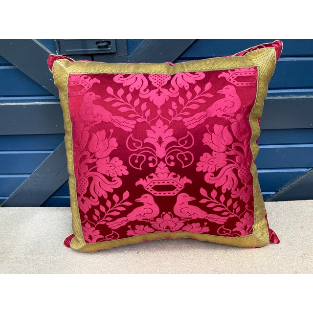 2020s Scalamandre Raspberry Red Silk Pillow For Sale - Image 5 of 5