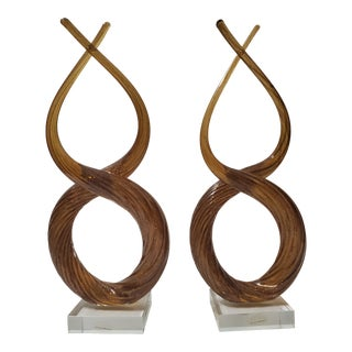 Murano Amber Glass Swirl Sculptures - a Pair For Sale