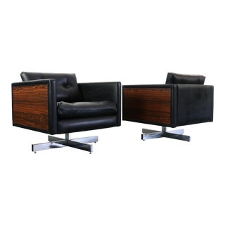 Milo Baughman Style Rosewood and Chrome Club Chairs - a Pair For Sale