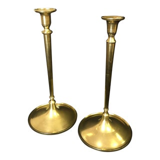 Vintage Hollywood Regency Turned Brass Candlesticks - a Pair For Sale