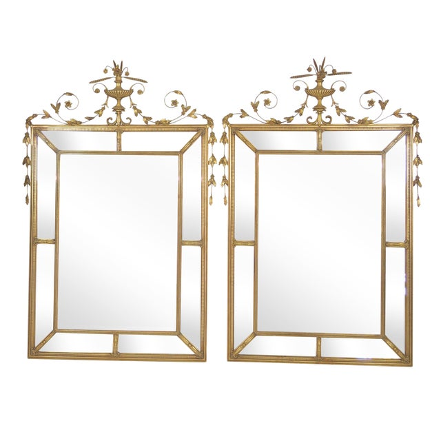 Neoclassical Style Gilt Beveled Mirrors - Pair - Image 1 of 5