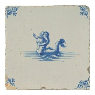 Antique Delft Porcelain Tile For Sale