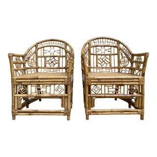 Bamboo Chinese Chippendale Chairs, a Pair For Sale