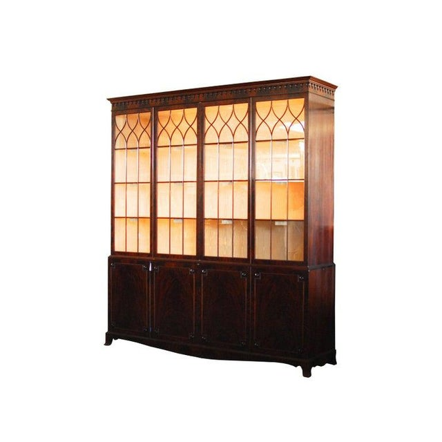 Georgian Historical George III Mahogany Display Cabinet Bookcase For Sale - Image 3 of 10