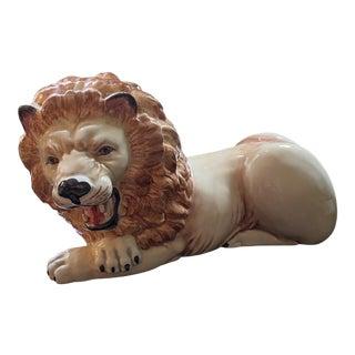 Hollywood Regency Italian Ceramic Lion For Sale