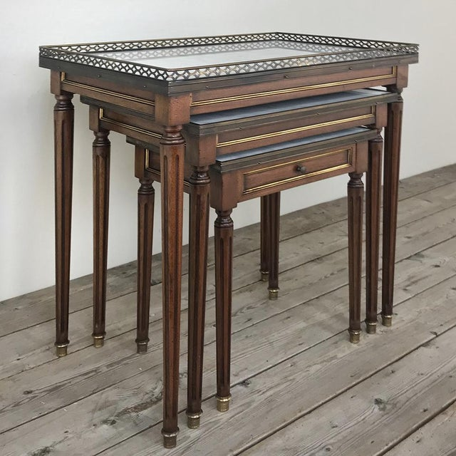 Early 20th Century Set of Antique Directoire Marble Top Nesting Tables For Sale - Image 5 of 13