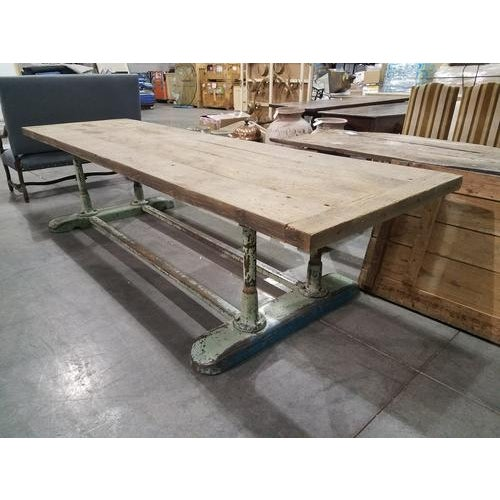Large French Industrial Planed Oak Top and Iron Trestle Base Table For Sale - Image 4 of 4