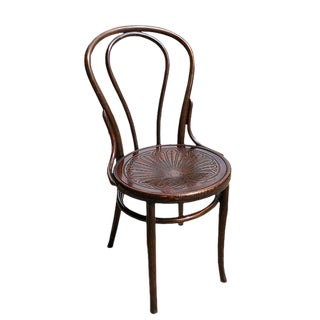 1900s Grotto Style Art Deco Bentwood Embossed Shell Motif Mazowia Cafe Chair For Sale