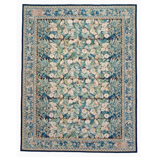 """Contemporary Pasargad Aubusson Hand-Woven Wool Rug- 8' 2"""" X 9'10"""" For Sale - Image 3 of 3"""