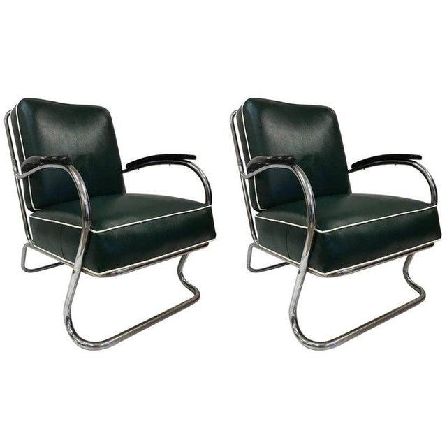 1940s Pair of KEM Weber for Lloyd Tubular Chrome Lounge Chairs For Sale - Image 5 of 5