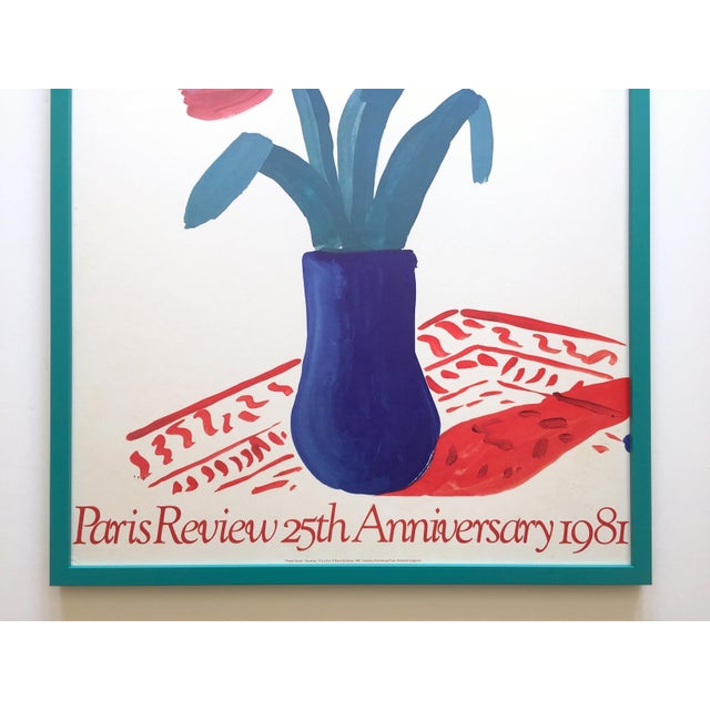 """Contemporary David Hockney Rare Vintage 1981 Lithograph Print Framed"""" Paris Review """" 25th Anniversary Collector's Poster For Sale - Image 3 of 13"""