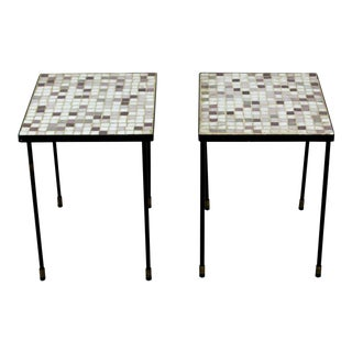 Mid Century Modern Murano Glass Tile Top Iron Side Tables- A Pair For Sale
