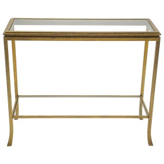 Rare Mid Century Robert Thibier Gilt Wrought Iron Gold Leaf Console Table, 1960s For Sale