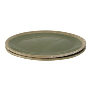 Mid-Century Hull Pottery Green Drip Glaze Serving Platters - a Pair For Sale