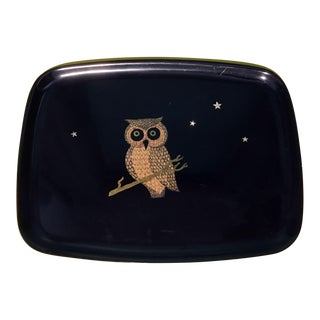 1970's Couroc Owl on a Branch With Stars Bar Serving Tray For Sale