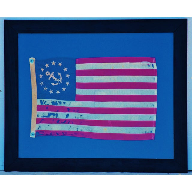 Late 20th Century Framed Vintage Chris-Craft Boat Nautical Flag For Sale - Image 5 of 6