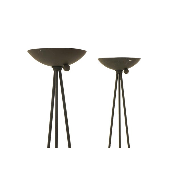 Pair of Postmodern Koch and Lowy floor lamps. Striking tripod design in the original textured black finish.