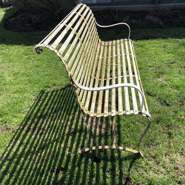 Metal French 1920's White Garden Benches - a Pair For Sale - Image 7 of 12