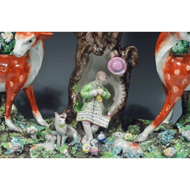 Staffordshire Staffordshire Pearlware Large & Rare Double Deer Figure Spill Vase Group For Sale - Image 4 of 7