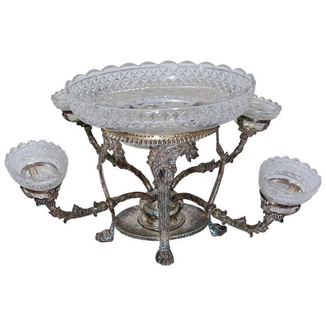 Bohemian Cut Crystal & Silver Centerpiece - Image 10 of 10