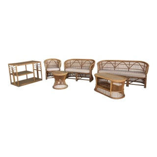 Mid Century Italian Rattan and Bamboo Chairs and Settee- 6 Pieces For Sale