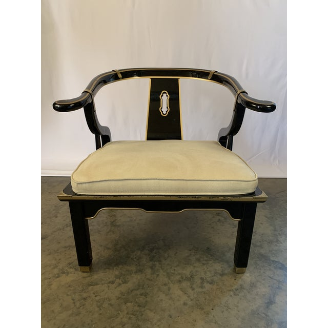 Mid-Century Modern James Mont-Style Suede and Lacquer Horseshoe Lounge Chair by Century Furniture For Sale - Image 3 of 11