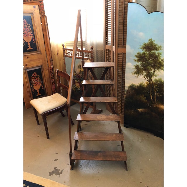 Gothic Mid 19th Century Neo Gothic English Oak Library Athenae Steps For Sale - Image 3 of 11