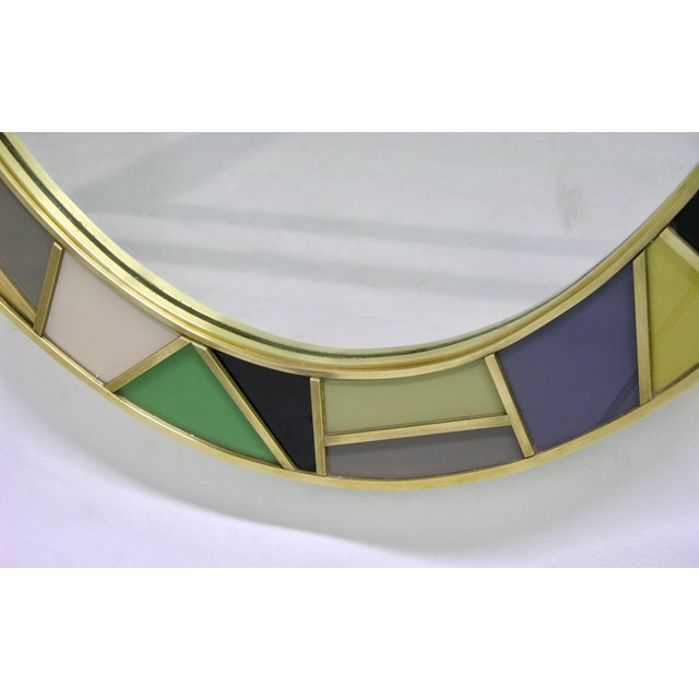 1970s Italian Modern Oval Mirror in Green Grey Blue Yellow Black White and Brass For Sale - Image 9 of 10