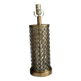 Hollywood Regency Open Lattice Brass Table Lamp For Sale