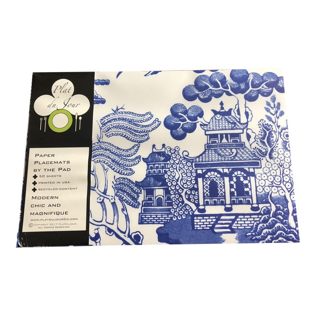 Blue Chinoiserie Paper Place Mats - Set of 50 For Sale