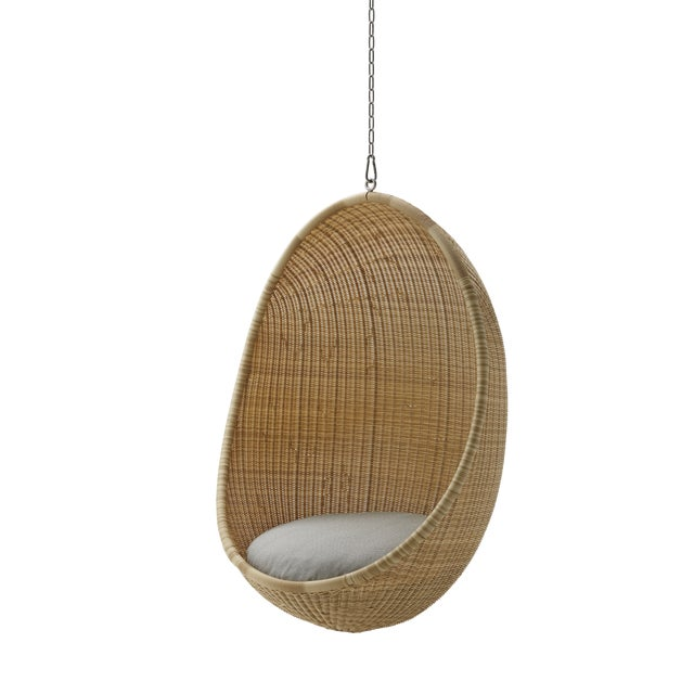 Modern Nanna Ditzel Exterior Hanging Egg Chair - Natural - Sunbrella Sailcloth Seagull Cushion with 5 Foot Chain For Sale - Image 3 of 3