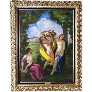 "Early 20th Century Antique Béla Ivanyi Grunwald ""Three Nudes"" Painting For Sale"