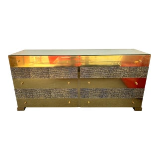 1970s Brass and Bronze Sideboard Dresser by Luciano Frigerio, Italy For Sale