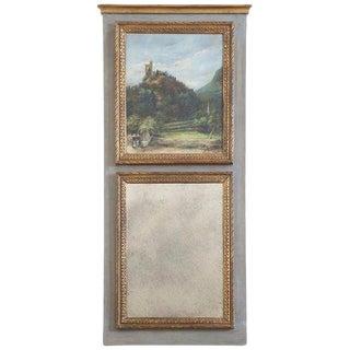 French Louis XVI Style Parcel Gilt Trumeau Mirror For Sale