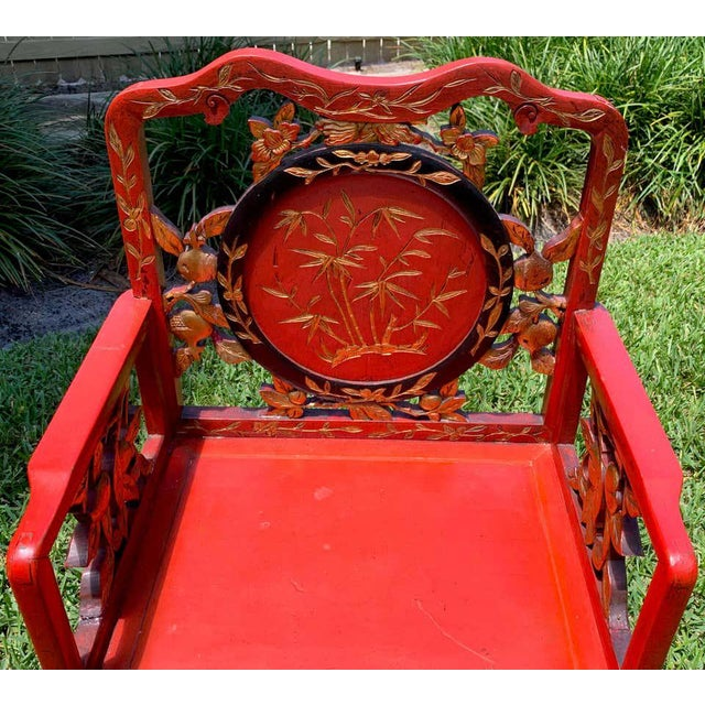 Mid 20th Century Chinese Red Lacquer and Gilt Throne Chairs - a Pair For Sale - Image 5 of 13