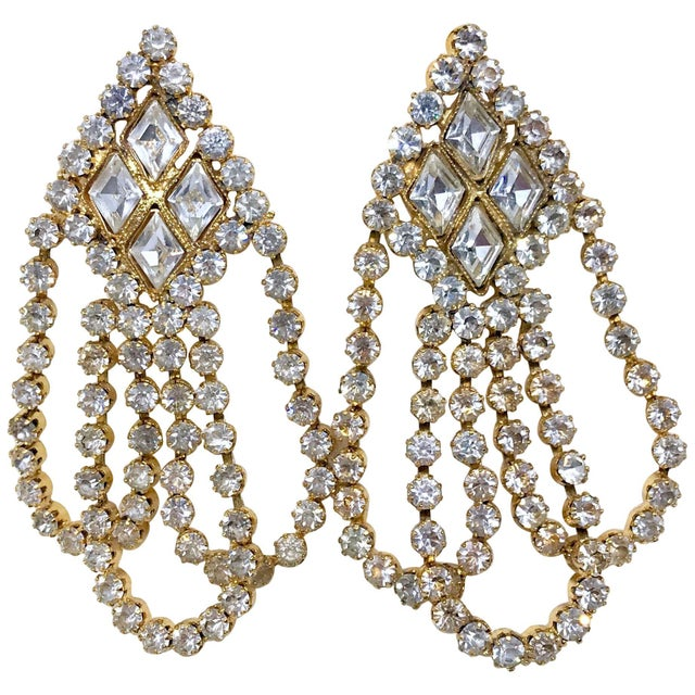 Gold 1960s William deLillo Goldtone and Clear Crystal Dangling Earrings For Sale - Image 8 of 8