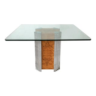 Chrome and Burl Skyscraper Pedestal Dining Table in the Style of Milo Baughman For Sale