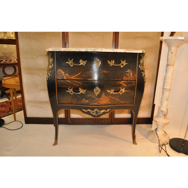 French Louis XV Style Bombe Form Two Drawer Chest With Chinoiserie Decorations and White Marble Top For Sale - Image 13 of 13