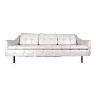 Vintage Three Seat Sofa in Tufted White Vinyl For Sale