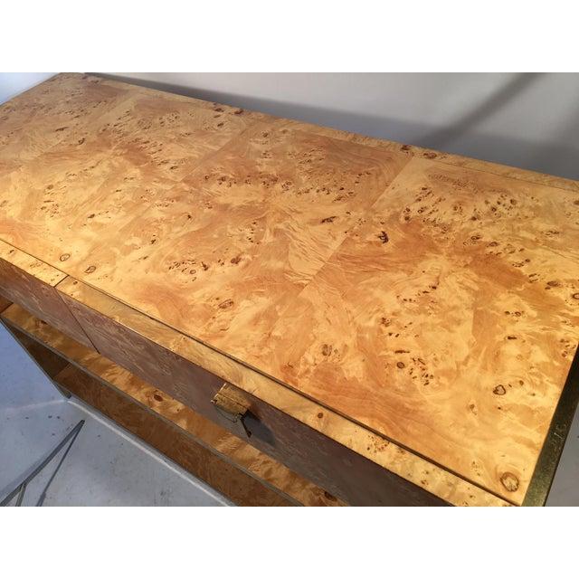 Burlwood Burl Wood and Brass Rolling Server For Sale - Image 7 of 10