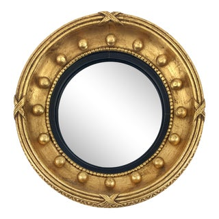 Vintage Girandole Wood Round Beaded Federalist Convex Mirror For Sale