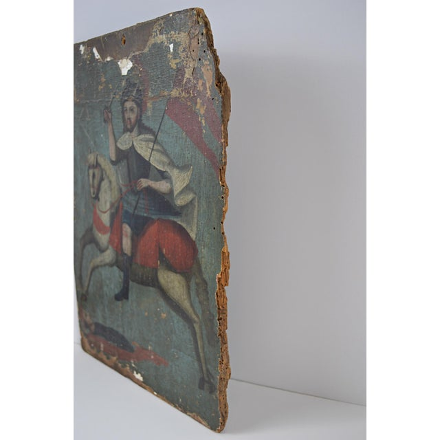 18th Century Spanish Colonial Folk Retablo of St. James the Moor-Slayer For Sale - Image 10 of 13