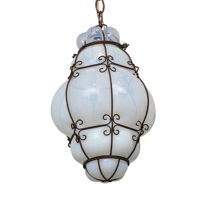 Three Caged Glass Italian Pendants For Sale In Houston - Image 6 of 13
