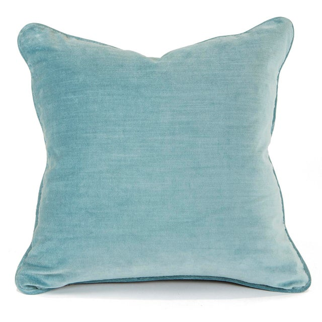 Cherry Blossom and Aqua Velvet Pillows - Pair For Sale - Image 4 of 6