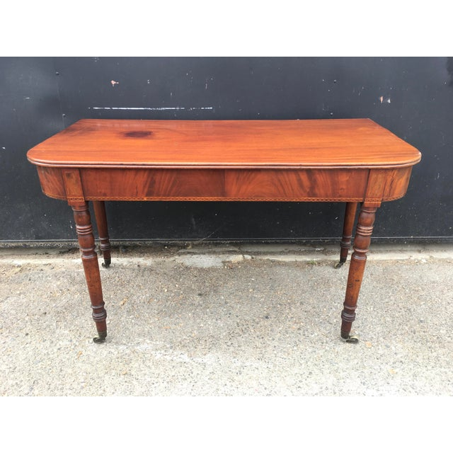 Antique English Walnut Writing Desk on Brass Casters For Sale - Image 11 of 11