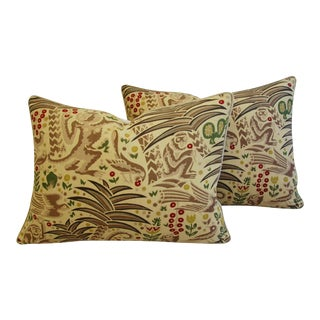 "Custom Clarence House Gibbon Fabric Feather/Down Pillows 24"" x 18"" - Pair For Sale"