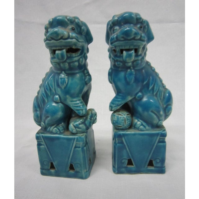 Japanese Turquoise Foo Dogs - A Pair - Image 2 of 7