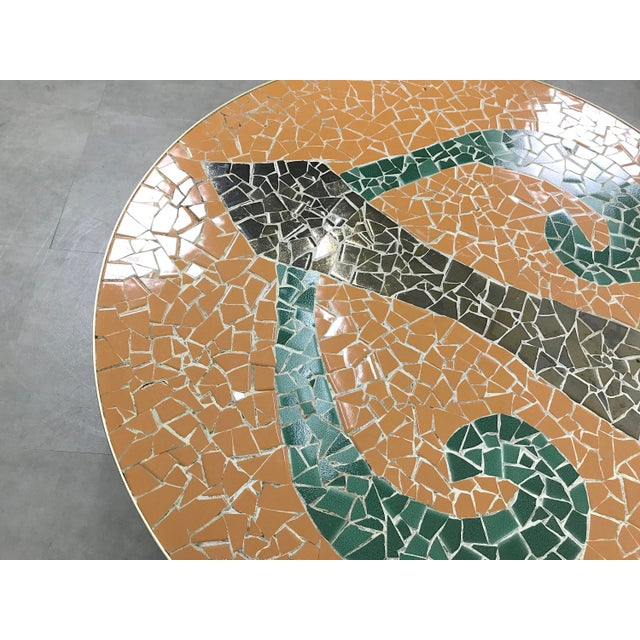 Italian Modern Round Mosaic Tile Coffee Table, Circa 1950's For Sale - Image 10 of 11